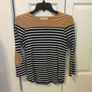 Suede and Stripe 3/4 Length Sleeve Top